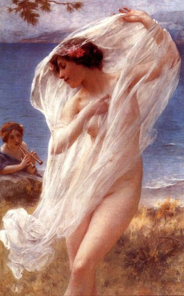 A Dance By The Sea. Charles-Amable Lenoir (French, Academic, 1860–1926). Oil on canvas. Like his mentor, William-Adolphe Bouguereau, he was an academic painter and painted realistic portraits as well as mythological and religious scenes. He won the Prix de Rome twice and was awarded the Legion d'honneur.