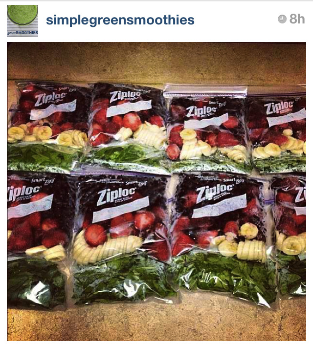 Are you guys following Simple Green Smoothies on Instagram? You guys know I drink one every morning for breakfast, so following them has been amazing since they come up with the coolest combos of greens and fresh fruit. Love them! Make sure to bookmark their main site, too. Go here. Check out this reader submitted idea for freeze prepping your smoothies for the entire week. Dope!