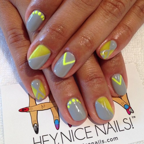 Grey and neon yellow #gel #nailart #lbc  (at Hey, Nice Nails!)