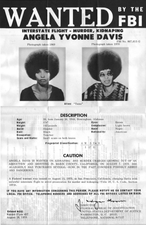 liberatormagazine:  Angela Davis wanted in 1970