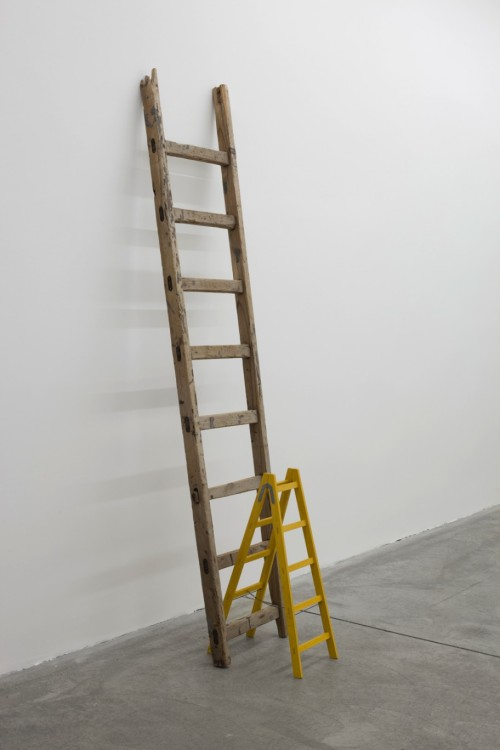 exasperated-viewer-on-air:  Roman Ondák - Third Way, 2013  found ladder and scaled-down model of a ladder  211 x 47 x 75 cm
