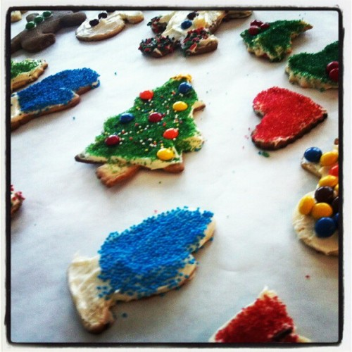 Family Christmas cookie decorating during Snowpocalypse 2012.
