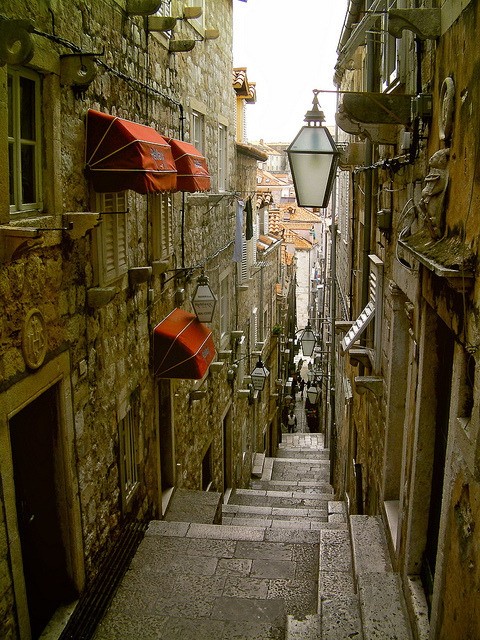 Narrow Street, Dubrovnik, Croatia photo via saundra