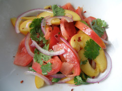 Peach Tomato Salad by Erika Ray on Flickr.