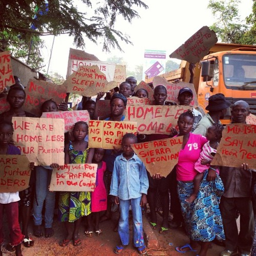 thefatoublog:  #protest in #freetown, no housing. Thursday morning