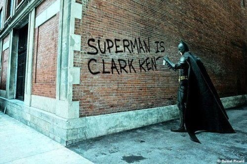"""Superman is Clark Kent!""  - notice the subtly of of the Dark Knights insult, by saying ""Superman is Clark Kent"" as opposed to ""Clark Kent is Superman"" - he is further implying Superman is weak. Note to self - don't get on the bad side of Batman's rapier wit."