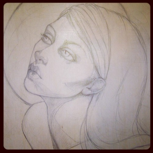 Howl…. Drawing done and sealed ready for paint #art #artist #woman #moon goddess #wolf #instamood #portrait #atistsoninstagram