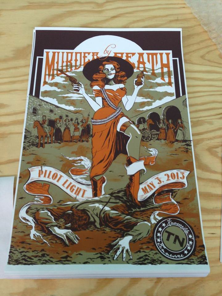 Murder by Death, Knoxville tour poster - Mayra Fersner