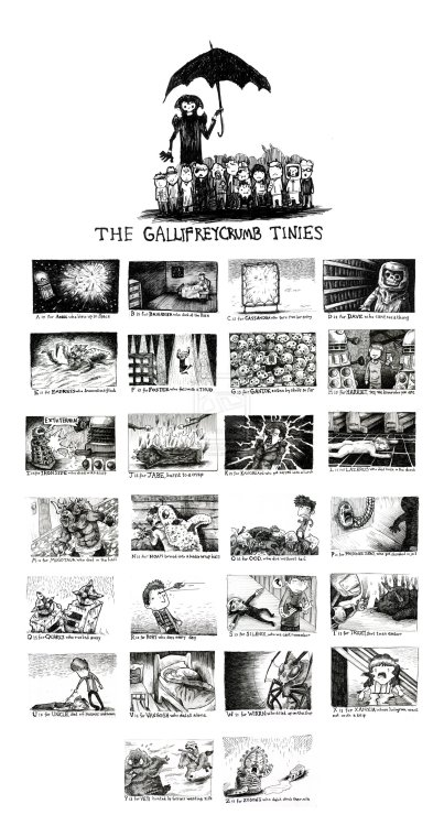 archiemcphee:    The Gallifreycrumb Tinies is an awesome combination of Edward Gorey's The Gashlycrumb Tinies and the Doctor Who universe created by artist EatToast. Fantastic. Click here to view a larger version. [via Neatorama]    Special love for H and R.