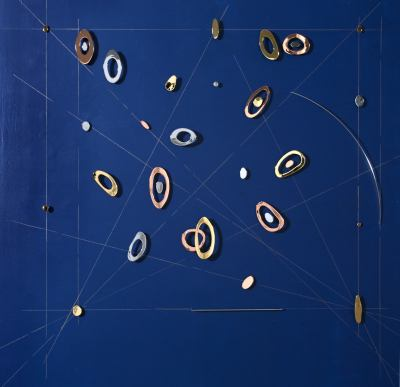 carolinasardi:  Black Holes, Gold, Copper and Chrome Plated Steel over Painted Wall, 2012