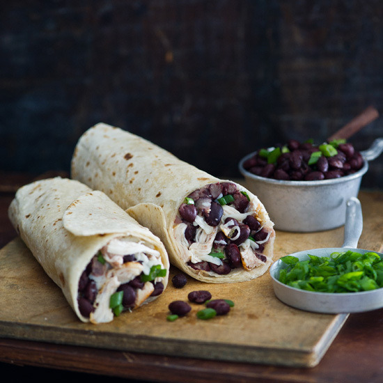 justinlovewithberni:  Chicken Burritos with Black-Bean Salsa and Pepper Jack