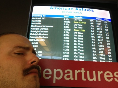 "kskill:  murfmeyer:  Flight 4431 to Raleigh-Durham has been delayed due to a ""lost aircraft"". Well played Gimghoul, but we ain't going away that easily.  Second weird thing to happen and we're not even there yet…"