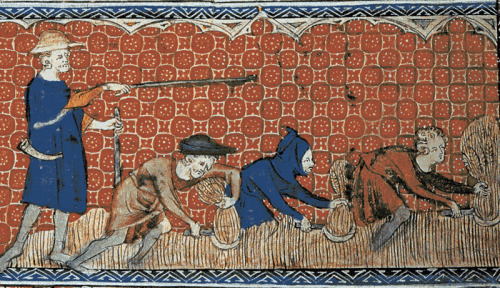 Reeve and serfs in feudal England, ca. 1310