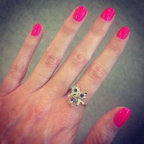 A fresh manicure and a baby owl ring. What more could you ask for? #dailylook