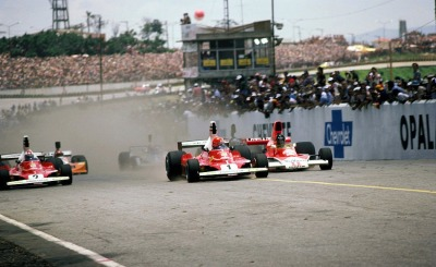 Ferrari Friday … ready to racestart of the 1976 Brasilian Grand Prix at Interlagos with Niki Lauda (Ferrari 312T) on pole & taking the win