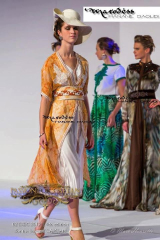"Really nice and uncommun Kaftan By Hanane Daoudi, Marodess Couture. Love this short and ""casual"" takchita !"
