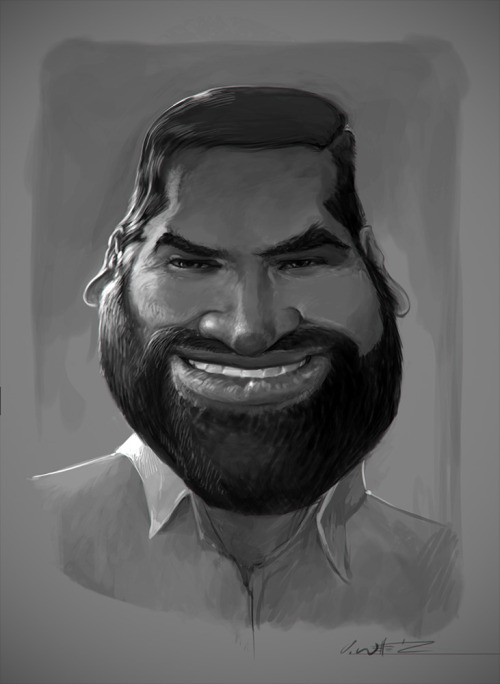 Caricature of Spiro from Cursive Illustrations, Cintiq, Intuos, Photoshop CS6.