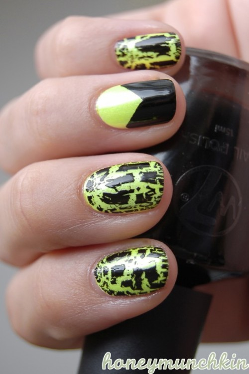 (via Neon yellow with black shatter | honeymunchkin)