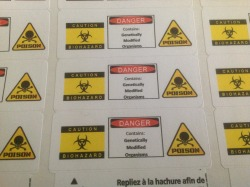 When I was in the Marine Corps I used to label hazardous areas… This is how I label GMOs now!