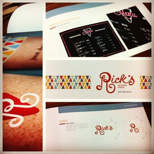 62 pages & 10 weeks later… re-design of Rick's Dessert Diner for corporate id class is doneee @flashphoto13 @tatertotxo27 #ricksdessertdiner #ricks #gphd #duwopsomecake #identity #graphicdesign #brand #midtownsac #fuckyeah #somanytears #butseriously #andthismyeasiestprojectforthesemester