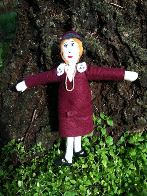 "Zelda Fitzgerald stuffie now listed in my shop@ She's about 8 inches tall, with a burgundy dress, removable cloche hat and gold necklace!  https://www.etsy.com/listing/127005373/felty-authors-zelda-fitzgerald-felt-doll funny, when I listed this on my instagram with the tag ""zelda fitzgerald"", every single person that 'liked' it was a gamer or had ""gamer"" in their profile. They do realize that Legend of Zelda and Zelda Fitzgerald are, indeed, not the same thing, right"
