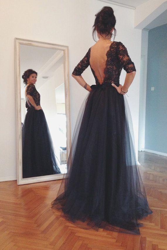 Black short puffy prom dress