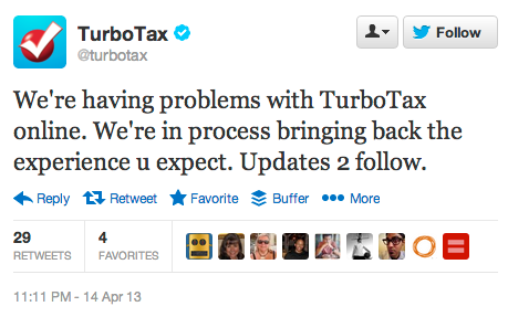 Worst possible time for TurboTax to go down?The day before tax day. Oops.