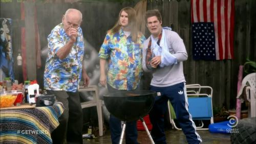 TV Show: Workaholics Episode: The Worst Generation (Season 3, Episode 17) Air Date: 2/27/2013 Parody Wrestler(s) captured: Captain Lou Albano (portrayed by Jillian Bell), 'Mouth of the South' Jimmy Hart (portrayed by Kyle Newacheck) IMDB Page: Workaholics - The Worst Generation