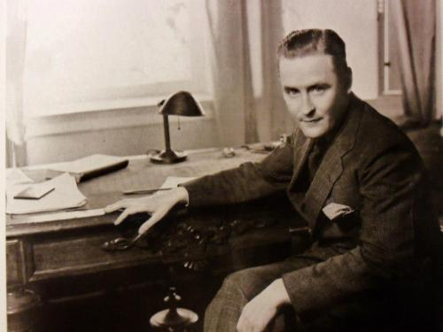 F Scott Fitzgerald at his desk in La Paix in 1933. This is where he wrote most of Tender Is The Night. [X]
