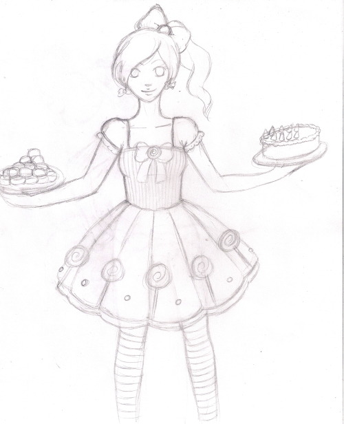 Sketch of one of the outfit ideas I was given. This one is a candy dress :) I'll finish the cake and erase some of the extra lines, then I will color traditionally. Character is my OC, Haruko. :)