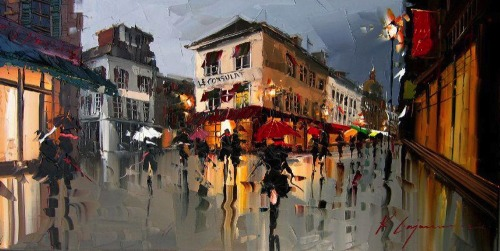 Palette Knife Cityscapes by Kal Gajourn Created entirely with a palette knife, these fascinating oil paintings give a nice contemporary twist on cityscape painting. The technique was introduced to Kal Gajourn by a family friend and he's not looked back since. His unique style gives the cities a wonderful reflective and almost wet look, as if rain water recently flooded the streets.  Artists: | Website | [via: Andons & MMM]