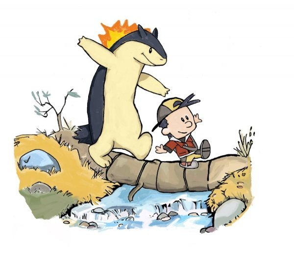thebackuplist:  Calvin and Hobbes Meets Pokemon