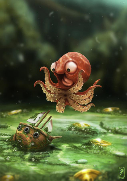 laughingsquid:  An Illustrated Young Kraken in Training