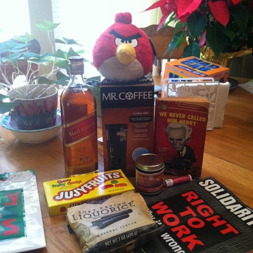 My #Christmas gifts from the Budziszewskis! #Scotch, #coffee, and #candy: all that I need (at Budziszewski Polish-American Center)