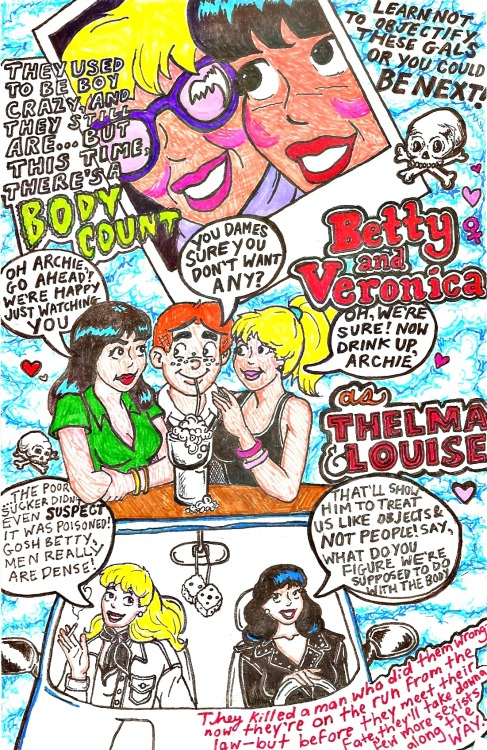 just some ideas/ doodles for a thelma & louise adaption via betty and veronica