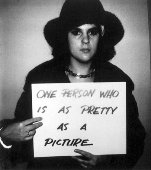 """one person who is as pretty as a picture"" (1977) by douglas huebler"