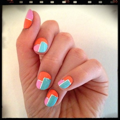 nailinghollywood:  Neon color block 🎨💅