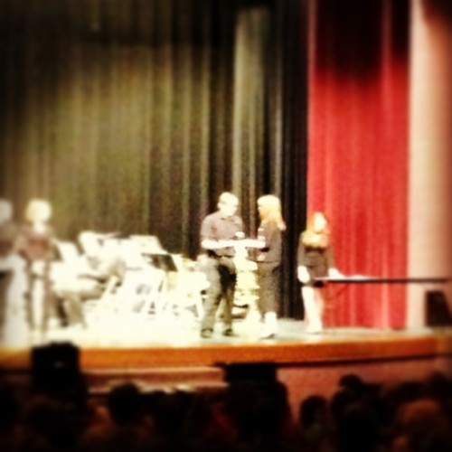 Hunter Law receiving the John Philip Sousa Award in his sock feet.  (at Benton, AR)