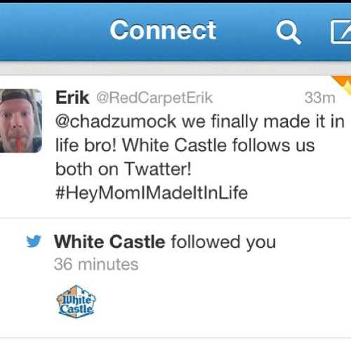 Shit just got real on my twitter #BigTime #GameChanger #WhiteCastle