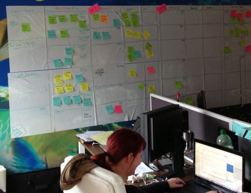 Something is afoot - Kelly has switched to turquoise post-it notes on the wall-of-scheduling. Looks ominous.  Meanwhile, more tweeking of the menus for me. Not my tweeks so much as Charles tweeks. I'll begrudgingly admit they are probably right. Soon we'll get onto the game menus. I think as simple as humanly possible will continue to be our mantra. Coding Music of the day - the new Daft Punk. Very nice. I have to listen to something if, for no other reason, than to drown out the sound of retro-console-gaming soundtracks coming from Joost's headphones.