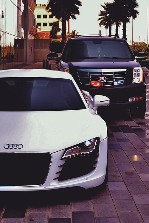 auerr:  His Audi R8 & Cadillac Escalade.You can find more of his gorgeous R8 on his IG.