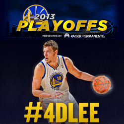 officialwarriors:  With David Lee sidelined for the rest of the playoffs due to a torn hip flexor, we want to show him as much support as possible. To qualify for today's Playoff Ticket Scavenger Hunt, save the photo above and tweet or Instagram it with the exact sentence below. Sending thoughts & support to @DLee042 as the #Warriors continue their playoff run. These playoffs are now #4DLee.