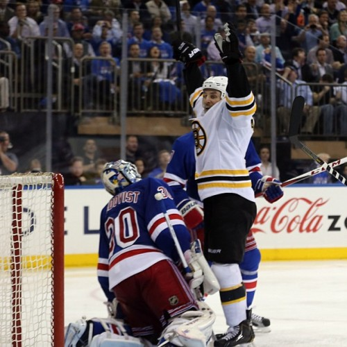 nhlbruins:  Campbell throws his hands up in celebration after Paille scored vs NYR #nhlbruins