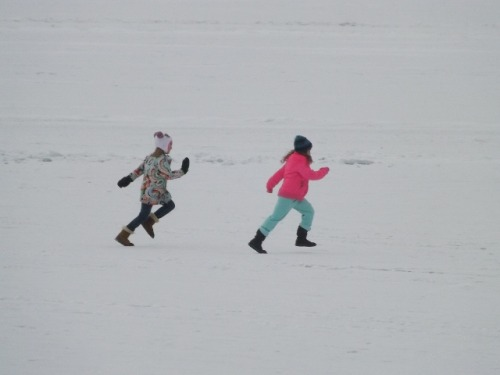 Children play on the frozen surface of Lake George at the Lake George Winter Carnival, Lake George, N.Y. February 23, 2013