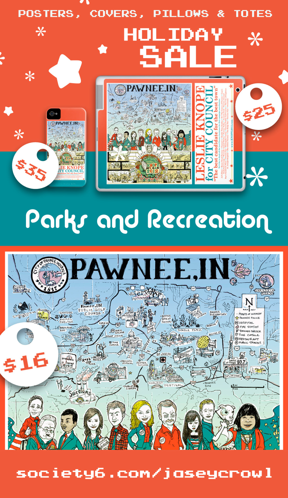 Parks and Recreation Holiday Sale! SPECIAL til 11:59pm 12/09/12: FREE SHIPPING Poster - T-shirt - Tote Bag - Pillows - &More  http://bit.ly/leslieknopeforcitycouncil Leslie Knope for City Council Poster - A scavenger hunt for all your favorite local Pawnee, IN businesses, people, and history!