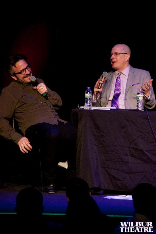 "In Boston: Marc Maron interviews The Comedy Studio owner/host Rick Jenkins as part of a live ""WTF with Marc Maron"" at the Wilbur Theater."