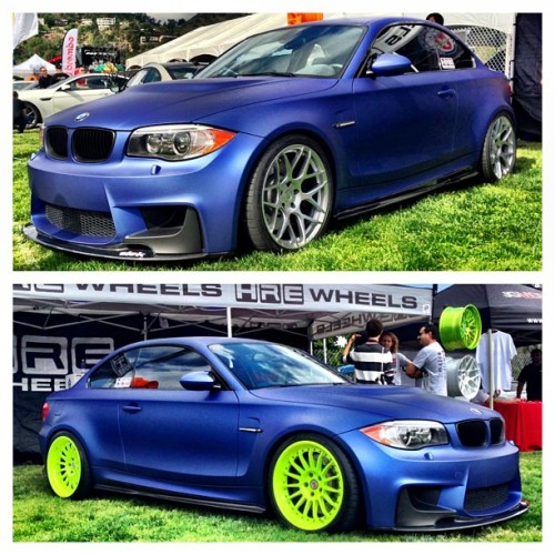 hrewheels:  Going on at the #hre booth now at #bimmerfest #hrewheels #bmw #1series #1m #waitwhat #bright #cool #sick #wrap #FF01 #FlowForm #industrystandard (at Rose Bowl Stadium)
