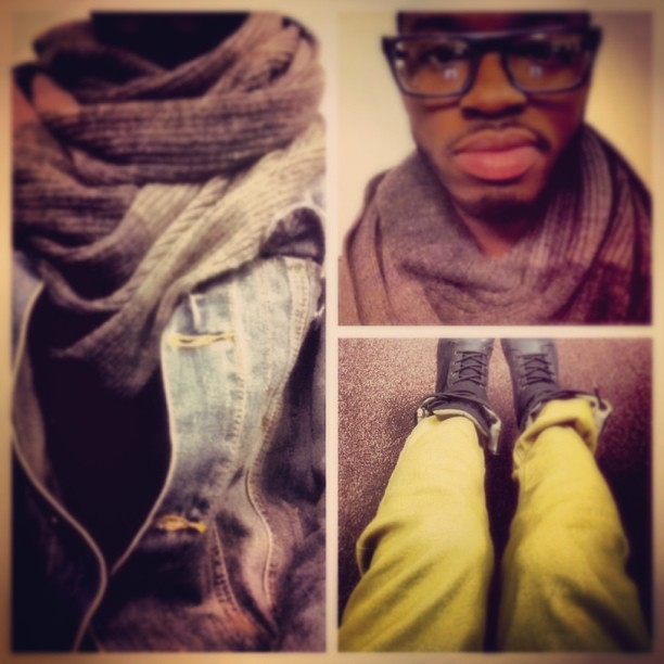 (Y)OOTD  #denim #mustard #scarf #khakis #instafashion #mensfashion #ootd #justcuz