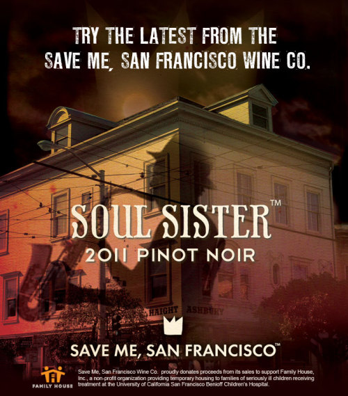The Save Me, San Francisco Wine Co. has a new varietal! Soul Sister Pinot Noir is the latest addition and it was inspired by our days playing at small rock clubs in San Francisco. The medium ruby wine has flavors of ripe cherries and strawberries and a hint of vanilla. Is your mouth watering yet? Pre-order yours here, please note that it won't ship until late March. Just like the other Save Me, San Francisco wines, proceeds go towards helping Family House, a Bay area charity that helps families of children with life threatening illnesses. Find out more about Family House and how you can help here.