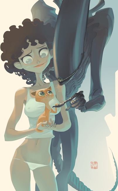 jidanetribal:  futsin:  synamax:  Art by Otto Schmidt  Well, this is unexpectedly awesome fanart.  I approve of this because it has Jonesy in it! There needs to be more Jones in Alien fanart, because he's the thoughest ginger tom ever! He survived the massacre aboard the Nostromo and made it through 57 years of being frozen in hypersleep.